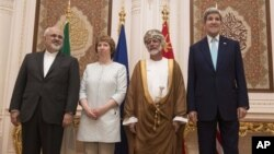 From left, Iranian Foreign Minister Javad Zarif, European Union adviser Catherine Ashton, Omani Minister Responsible for Foreign Affairs Yussef bin Alawi and US Secretary of State John Kerry, in Muscat on Sunday Nov. 9, 2014.
