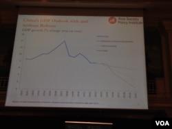 改革与不改革下的中国经济增长前景预测图表(美国之音 莉雅拍摄)