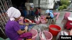 FILE - Migrant workers clean fish in Songkhla, Thailand, Dec. 23, 2015.