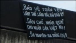 Biểu ngữ do nhóm ông Túc treo tại Hải Phòng năm 2008. (Danlambao)