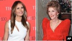 از راست: نانسی ریگان و ملانیا ترامپ