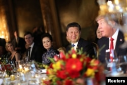 Chinese President Xi Jinping and First Lady Peng Liyuan attend a dinner hosted by U.S. President Donald Trump at Trump's Mar-a-Lago estate in West Palm Beach, Florida, April 6, 2017.