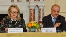 US Secretary of State Hillary Clinton pictured with Arab League Ambassador Mohammed Al Hussaini Al Sharif (Courtesy - Arab League Office).