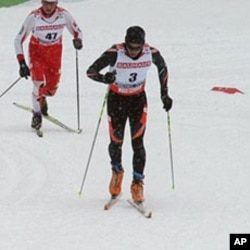Seattle resident Roberto Carcelen, (number 3), crosses the finish line at the 2009 World Championships in the Czech Republic