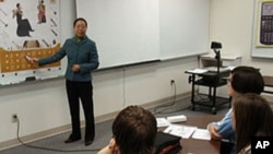 Zheng Ling is one of two Mandarin teachers at St. Mary's School in Medford, Oregon.