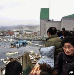 Des Japonais qui constatent l'ampleur des dégâts causés par le séisme et le tsunami