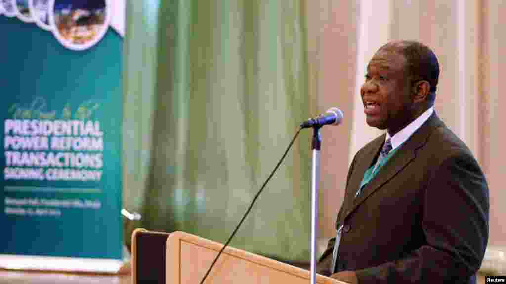 Nigeria's Minister of Power Chinedu Osita Nebo speaks during the Presidential Power Reform Transactions signing ceremony.