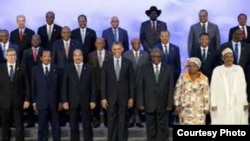 FILE - President Obama with African leaders.