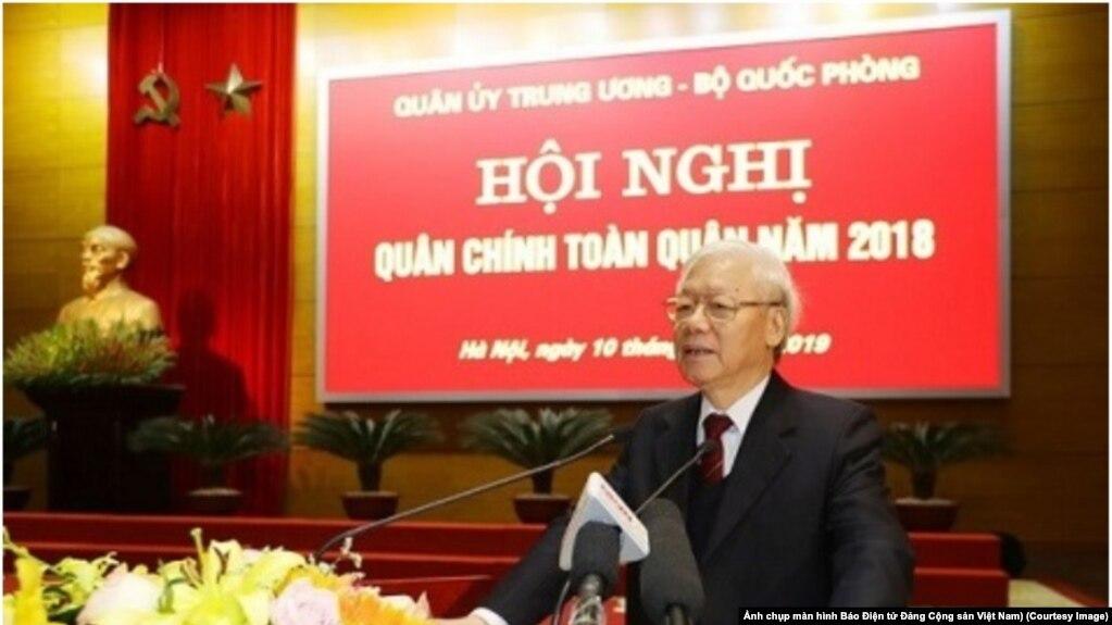 TBT-CTN Nguyễn Phú Trọng phát biểu tại Hội nghị Quân chính toàn quân ở Hà Nội hôm 10/1. (Ảnh chụp màn hình Báo Điện tử Đảng Cộng sản Việt Nam)