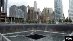 El Memorial del 11 de septiembre, en lo que era el lugar ocupado por la Torre Norte del Centro Mundial de Comercio, que ahora fue abierto al público.