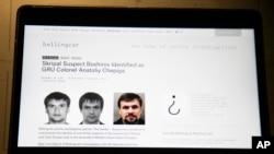 Trang mạng điều tra Bellingcat của Anh đưa ra ảnh Đại tá Anatoliy Chepiga trên màn ảnh máy vi tính ở Moscow, ngày 27/9/2018.