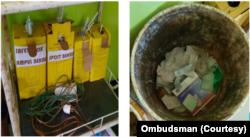 Contoh wadah limbah medis di salah satu fasilitas kesehatan di Sulawesi Barat. (Foto: Courtesy/Ombudsman)