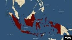 Lokasi terjadinya gempa bumi di Sumatera.