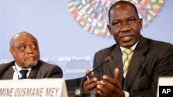 Alamine Ousmane Mey, Minister of Finance of Cameroon, speaks during news briefing by African Finance Ministers at the World Bank/IMF Spring Meetings, Washington, April 20, 2013.