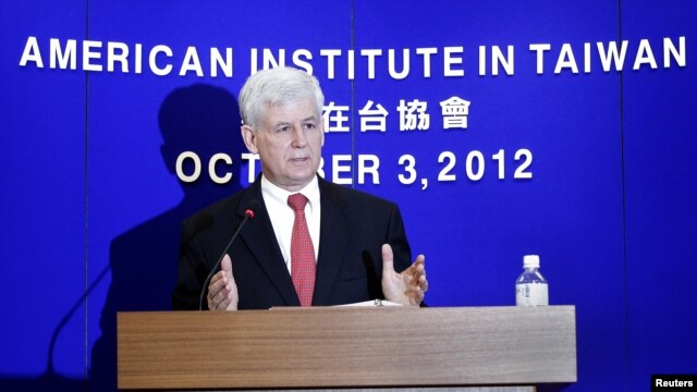 Christopher Marut, Director of the American Institute in Taiwan (AIT), the de facto U.S. embassy in Taiwan, answers a question during a news conference in Taipei, October 3, 2012.