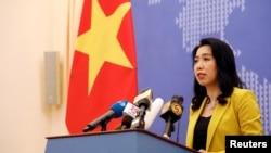 越南外交部发言人黎氏秋恒2019年7月25日在河内举行的例行记者会上。