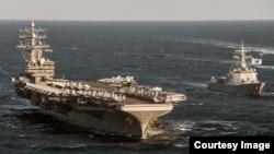 미국의 핵추진 항공모함 로널드 레이건 호가 지난해 10월 한국 동해에서 실시한 미-한 연합 해상기동훈련에 참가했다. 사진 출처 = 미 태평양사령부. (자료사진)