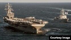 미국의 핵추진 항공모함 로널드 레이건 호가 지난해 10월 한국 동해에서 실시한 미-한 연합 해상기동훈련에 참가했다. 사진 출처 = 미 태평양사령부.