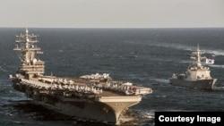 지난해 10월 동해에서 실시된 미-한 연합훈련에 참가한 미 핵추진 항공모함 로널드 레이건 호의 모습 (미 태평양사령부)