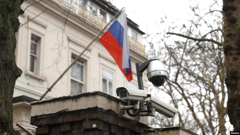 Camera an ninh tại Đại sứ quán Nga ở London, Anh, ngày 12 tháng 3, 2018