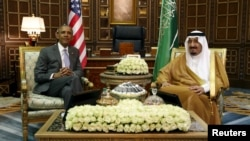 Perezida wa Amerika, Barack Obama n'umwami wa Arabiya Sawudite,Salman mu nama mu ngoro yiwe, ku murwa mukuru, Riyadh, muri Arabiya Sawudite, ku musi wa kane, italiki 20 z'ukwezi kwa kane, umwaka w'i 2016