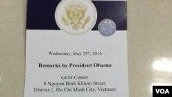 Vé tham dự buổi gặp gỡ của YSEALI với TT Obama hồi tháng Năm, 2016. (Hình: Nhật Báo Người Việt)