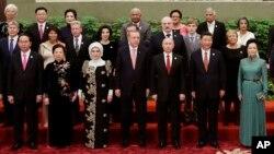 Ông Trần Đại Quang (ngoài cùng bên trái, hàng đầu) chụp ảnh chung với Chủ tịch Tập Cận Bình và lãnh đạo các nước hôm 14/5.