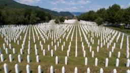 An aerial view of the Memorial Center in Potocari near Srebrenica, Bosnia and Herzegovina July 6, 2020.