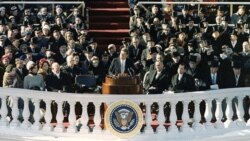 President John F. Kennedy gives his inaugural address at the Capitol building