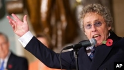 The Who's Roger Daltrey performs in Statuary Hall on Capitol Hill during a ceremony to dedicate a bust of Winston Churchill, Oct. 30, 2013.