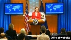 미국 국무부 제니퍼 사키 대변인이 정례브리핑에서 외교 현안에 대한 미국의 입장을 밝히고 있다.(자료사진)