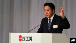 野田佳彦8月29日在被选举为日本民主党新领导人后发表简短讲话(资料照)