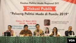 Diskusi Publik Peluang Politisi Muda di Pemilu 2019 di Yogyakarta (Foto: VOA/Nurhadi).