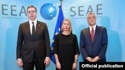 Serbian President Aleksandar Vucic, European Union's foreign policy chief Federica Mogherini, and Kosovo President Hashim Thaci