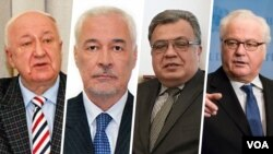 از ژانویه امسال از راست ویتالی چارکین، اندری مالانین، میگایاس شیرنسکی و الکساندر کاداکین دیپلمات های ارشد روس بودند که کشته شدند یا درگذشتند.