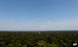 The Amazon Tall Tower Observatory stands in Sebastiao do Uatuma located in the Amazon rain forest in Brazil's Amazonas state, Aug. 22, 2015. The tower, built by Brazilian and German governments, collects data on greenhouse gases.