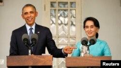 U.S. President Barack Obama and Aung San Suu Kyi