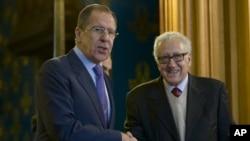 Сергей Лавров и Лахдар Брахими. Москва, Россия. 29 декабря 2012 года