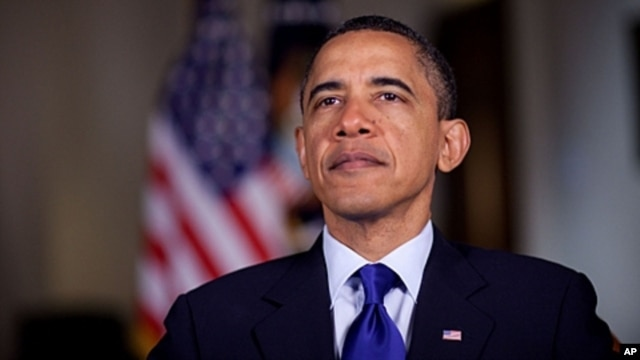 US President Barack Obama tapes the weekly address, May 13, 2011