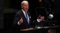 Presiden Amerika Joe Biden memberikan pidato pertamanya di Majelis Umum PBB hari Selasa (21/9).