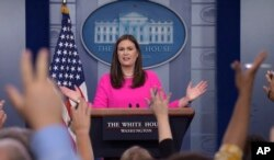 White House press secretary Sarah Huckabee Sanders speaks during the daily briefing at the White House in Washington, July 31, 2017.