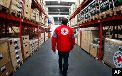 Un membre de la Croix Rouge allemande examine des médicaments avant leur envoi en Haiti