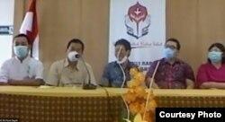 Tim RS Panti Rapih ketika mengikuti pertemuan daring 22 rumah sakit di DIY bersama Sultan. (Foto courtesy: RS Panti Rapih)