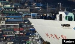 North Korean ship Mangyongbong-92 carrying the Samjiyon art troupe arrives at Mukjo port in Donghae, South Korea, Feb. 6, 2018
