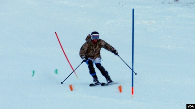 Jasmine Campbell training at her home mountain, Sun Valley Resort in Idaho. (T. Banse/VOA)