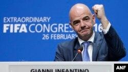 지난 2월 스위스 취리히에서 열린 국제축구연맹, ㅍ파(FIFA) 특별총회에서 지아니 인판티노 피파 신임 회장이 기자회견을 하고 있다. (자료사진)
