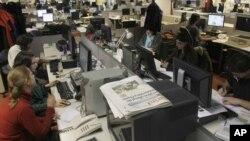 Esta foto de archivo muestra la redacción del diario Clarín, parte del Grupo Clarín, en 2009.