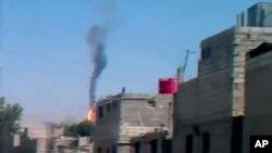 Hình chụp được cho thấy chiếc máy bay bị rơi gần thủ đô Damascus