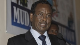 The new Somali Prime Minister Abdi Farah Shirdon speaks during a ceremony in Mogadishu, Somalia, October 6, 2012.