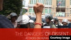 """A screenshot of a report from the Cambodian League for the Promotion and Defense of Human Rights (Licadho), titled """"Dangers of Dissent: Attacks on Human Rights Defenders""""."""